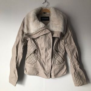 Guess Cream Faux Leather Jacket Size Small